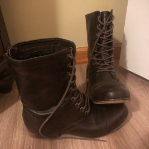 Brown Combat Boots Size 7.5